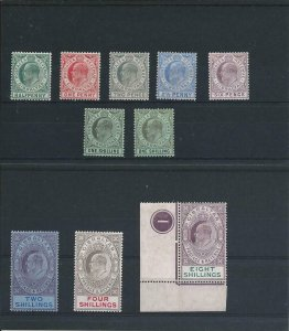 GIBRALTAR 1906-11 SET OF NINE PLUS 1s SHADE MM (8s IS PLATE 1) SG 66/74 CAT £600