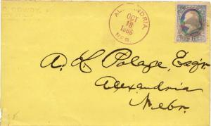 United States Nebraska Alexandria 1886 violet cds, black cork killer  1c Fran...