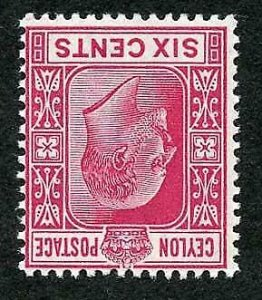 Ceylon SG269w 1903 KEVII 6c Carmine Wmk Crown CA INVERTED SUPERB U/M