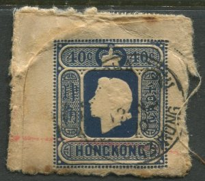 STAMP STATION PERTH Hong Kong #? QEII Used Piece on Hessian Card CV$?