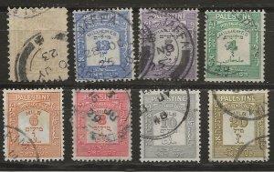 Palestine 8 DIFF Dues Used VF 1927-33 SCV $18.85 (jr)