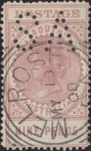 SOUTH AUSTRALIA - 1908 SG302 9d brown-lake p.12 perfin SA - MELROSE squared CDS