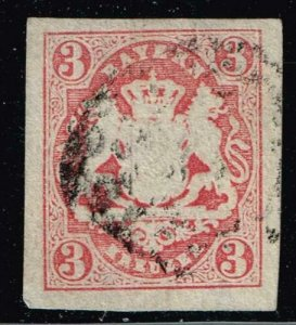 GERMANY STAMP BAVARIA BAYERN STAMPS COLLECTION IMPERF 3KR RED