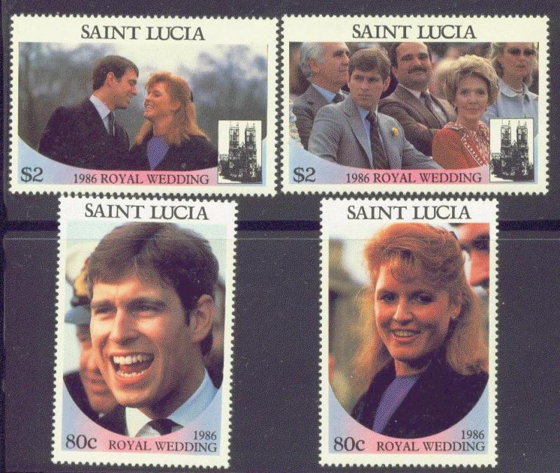 St. Lucia MNH 839-40 Royal Wedding Prince Andrew & Sarah Ferguson 1986