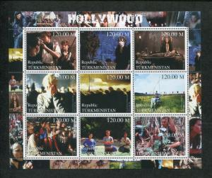 Turkmenistan Commemorative Souvenir Stamp Sheet - Hollywood Celebrity Movies