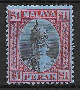 MALAYA PERAK SG119 1940 $1 BLACK & RED ON BLUE MTD MINT