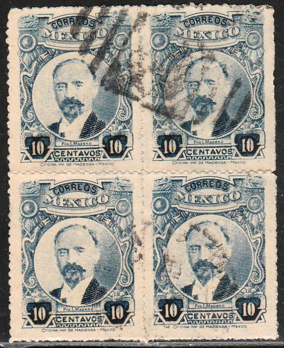 MEXICO 614, 10cents Pres. Madero. ROULETTED BLOCK OF FOUR, USED. F-VF. (101)