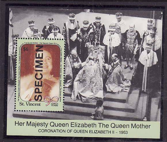 St Vincent-Sc#1335- id5-unused NH Specimen sheet-Queen Mother-90th Birthday-1990