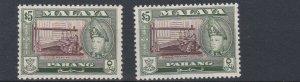 PAHANG    1957 - 62     S G 86 + 86A    2X  $5   VALUES  MNH