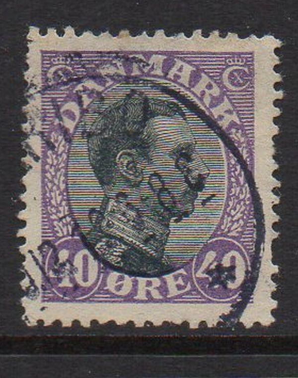 Denmark Sc 116 1918 40 ore violet & black Christian X stamp used