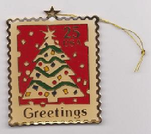 US Scott #2515 Christmas Stamp Collectible Cloisonne Holiday Ornament