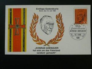 president Konrad Adenauer maximum card 1968 Germany 83380