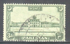 PAKISTAN SC# 50  **USED** 1949-53  3a  AIRPORT BUILDING  SEE SCAN