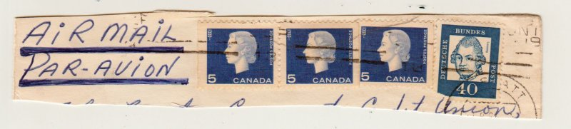 Canadian Stamps mixed with Germany on the same letter