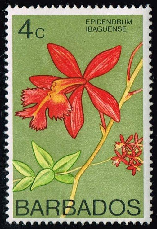 Barbados #399b Fiery Red Orchid; Unused (0.70)