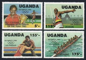 Uganda 417-420,421,MNH.Michel 397-400,Bl.45. Olympics Los Angeles-1984.Javelin,