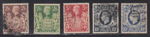 Great Britain # 249-251A, King George VI, Used, 1/2 Cat.