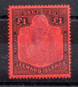 Leeward Islands 1938 £1 deep red/black mint MNH P13 WS8963