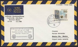 GERMANY 1966 Lufthansa first flight cover to Mexico.........................H310