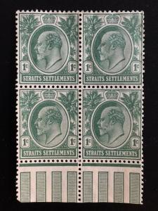 Malaya Straits Settlements 1904 KE VII 1c 4V blk MH MCCA SG#127 M1867