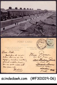 GREAT BRITAIN - 1906 SOUTHCHURCH BEACH PIC. POSTCARD WITH KEDVII STAMP USED