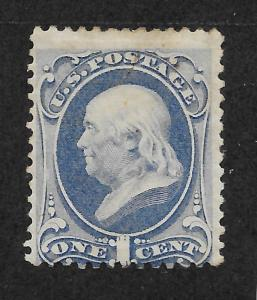 145 Unused 1c. Franklin, Ultramarine, O.G. scv: $675, Free Insured Shipping
