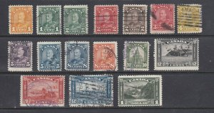 CANADA - 1930 KING GEORGE V - ARCH/LEAF ISSUE - SCOTT 162 TO 177 - USED