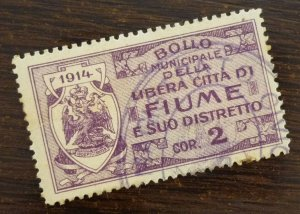 Fiume 1914 Italy Croatia Yugoslavia Hungary Revenue Stamp Cor. 2  C3