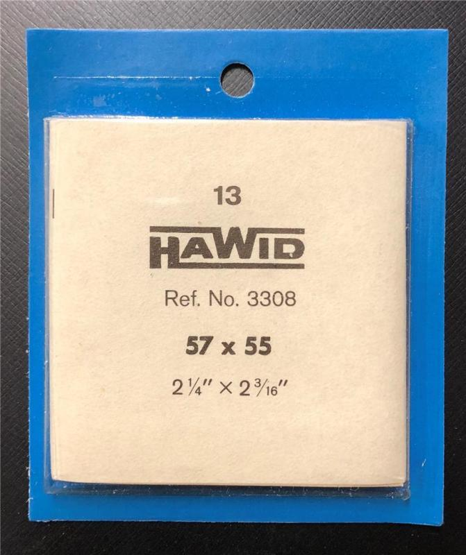 Stamp Mounts Supplies Hawid New 13 mounts 57mm by 55mm Black back Precut