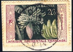 AOF/CÔTE-D'IVOIRE - 1958 - CAD DIVO SUR 20fr PRODUCTION BANANIÈRE (Yv.67)