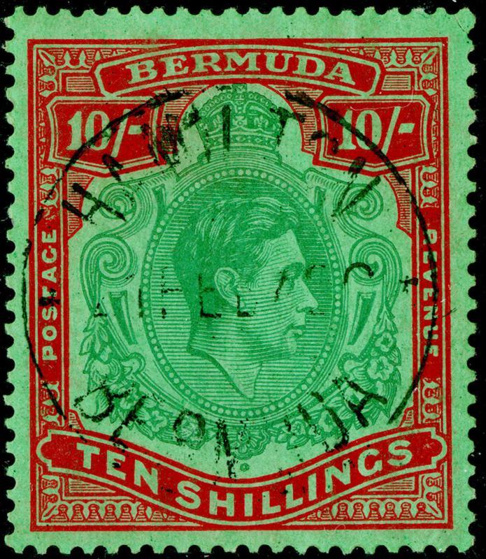 BERMUDA SG119, 10s, FINE USED. Cat £325. PERF 14. (C)
