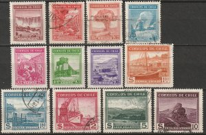 Chile 1938 Sc 198-209 complete set used/MH*
