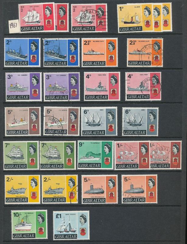 Gibraltar QE 1960s MNH MM Used Ships Red X Churchill (130+Stamps) AU7876