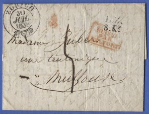 SWITZERLAND 1838 Stampless Cover, Zurich > France, L.Z./8.Kr., Suiss par Belfort