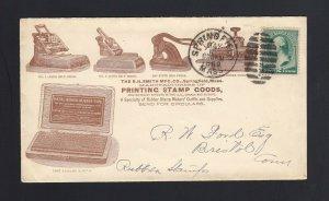 MASSACHUSETTS: Springfield 1889 Smith PRINTING STAMP GOODS