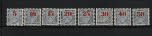 LIECHTENSTEIN J21-J28 (8) Set, Hinged, 1940 Post Horn Postage Due Stamps