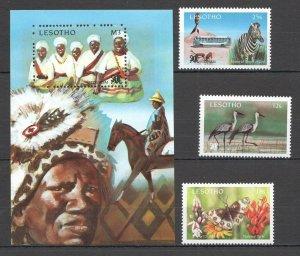 M0202 1991 LESOTHO TOURISM BUTTERFLIES ANIMALS #911-13 MICHEL 10 EURO BL+SET MNH