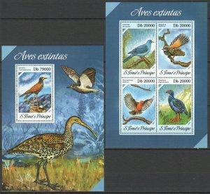 ST1708 2013 S. TOME & PRINCIPE BIRDS FAUNA EXTINCT KB+BL MNH STAMPS