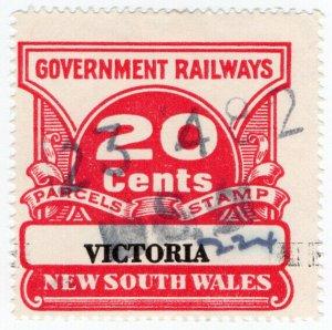 (I.B) Australia - NSW Government Railways : Parcels Stamp 20c (Victoria)