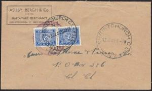 NEW ZEALAND 1949 local Christchurch cover taxed, 2d(2) postage due added....1888