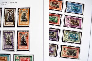 COLOR PRINTED FRENCH INDIA 1892-1954 STAMP ALBUM PAGES (29 illustrated pages)