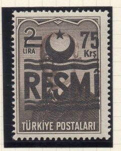 Turkey 1955-57 Early Issue Fine Mint Hinged 75k. Surcharged Resmi Optd NW-18231