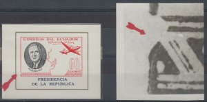 ECUADOR 1949 ROOSEVELT OFFICIAL Bts O261 MINISHEET WITH MAJOR PLATE FLAW MNH FVF