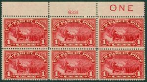 EDW1949SELL : USA 1913 Scott #Q1 Top Plate Block Imprint & PL # MNH Cat $175.00