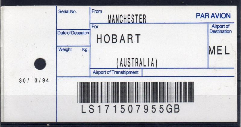 GB / AUSTRALIA, 1994 AIR MAIL Bag Label, MANCHESTER to HOBART, (30/03/94). `55GB