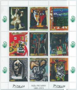 1949 - TURKMENISTAN, MINIATURE SHEET: Pablo Picasso, Arts