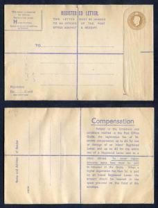RP66 KGVI 5 1/2d Brown Registered Envelope Size H Mint