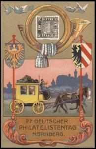 Germany 1921 Nuernberg Bavaria 27th Stamp Day Private Ganzsachen Postal C G68530