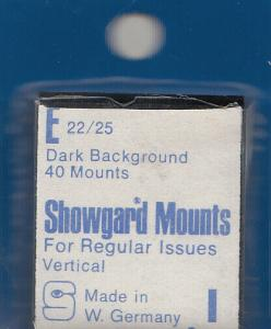 SHOWGARD BLACK MOUNTS E 22/25 (40) RETAIL PRICE $3.95