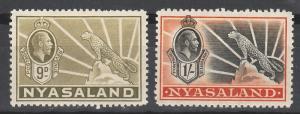 NYASALAND 1934 KGV LEOPARD 9D AND 1/-